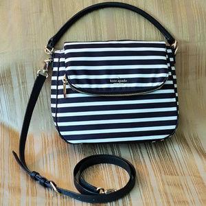 Kate Spade Black and White Stripes Nylon Devin